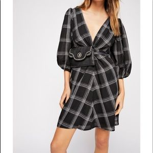 Free People Miss Molly plaid puff sleeve dress